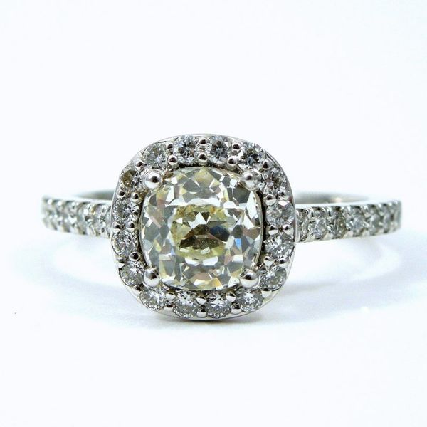Mine Cut Diamond Halo Engagement Ring Joint Venture Jewelry Cary, NC