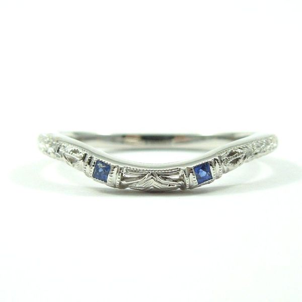 Curved Wedding Band with Sapphires Joint Venture Jewelry Cary, NC