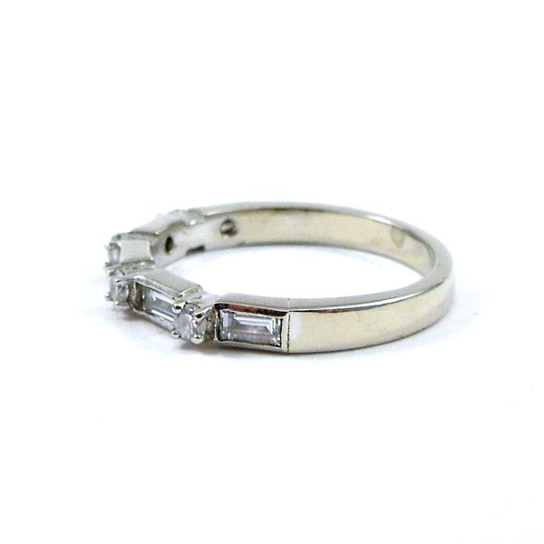Baguette and Round Diamond Wedding Band Image 2 Joint Venture Jewelry Cary, NC