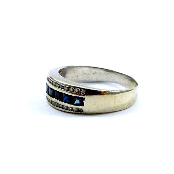 Sapphire and Diamond Wedding Band Image 2 Joint Venture Jewelry Cary, NC