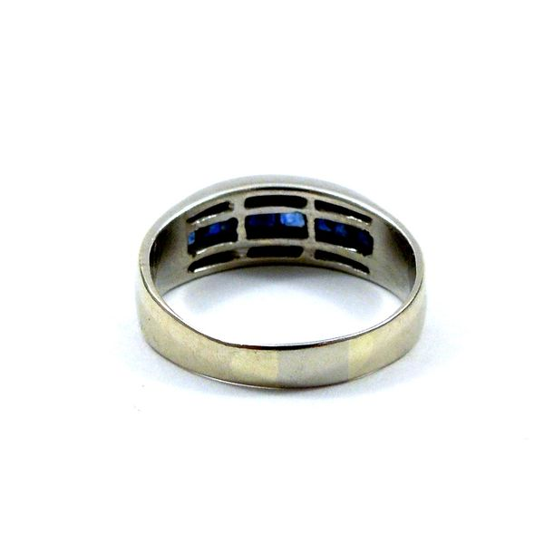 Sapphire and Diamond Wedding Band Image 3 Joint Venture Jewelry Cary, NC