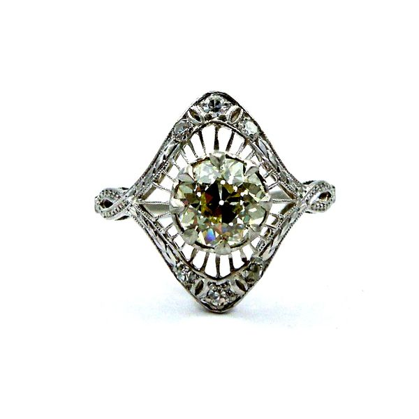 Fancy Yellow Mine Cut Vintage Diamond Ring Joint Venture Jewelry Cary, NC