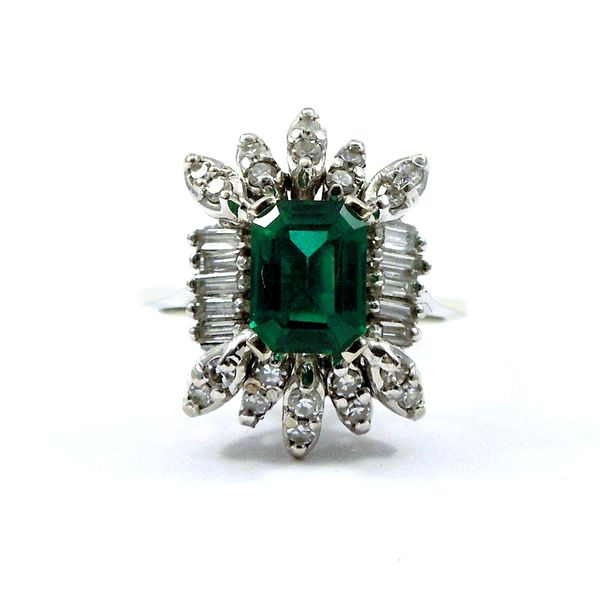 Emerald Cut Synthetic Stone and Diamond Semi-Mount Ring Joint Venture Jewelry Cary, NC