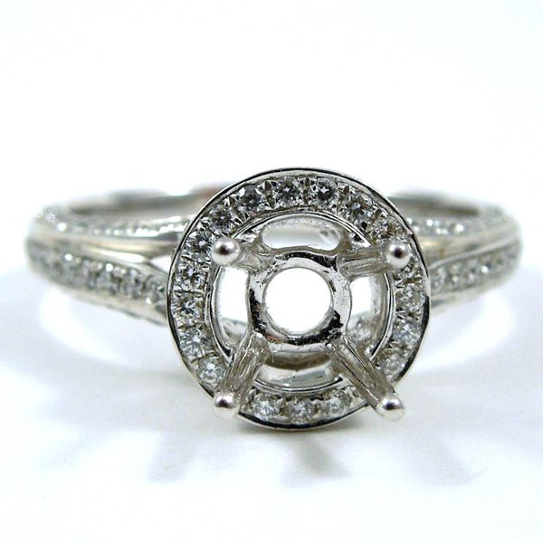 Diamond Halo Style Semi-Mount Ring Joint Venture Jewelry Cary, NC