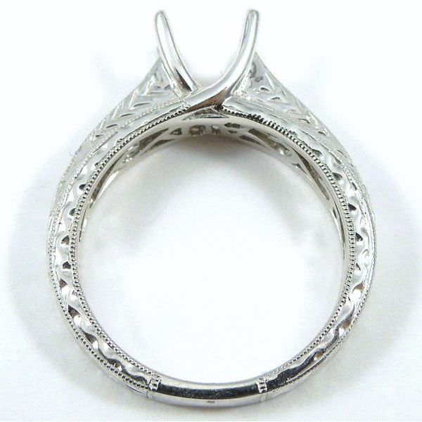 Engraved Diamond Semi-Mount Ring Image 2 Joint Venture Jewelry Cary, NC