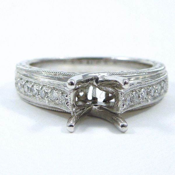 Engraved Diamond Semi-Mount Ring Joint Venture Jewelry Cary, NC