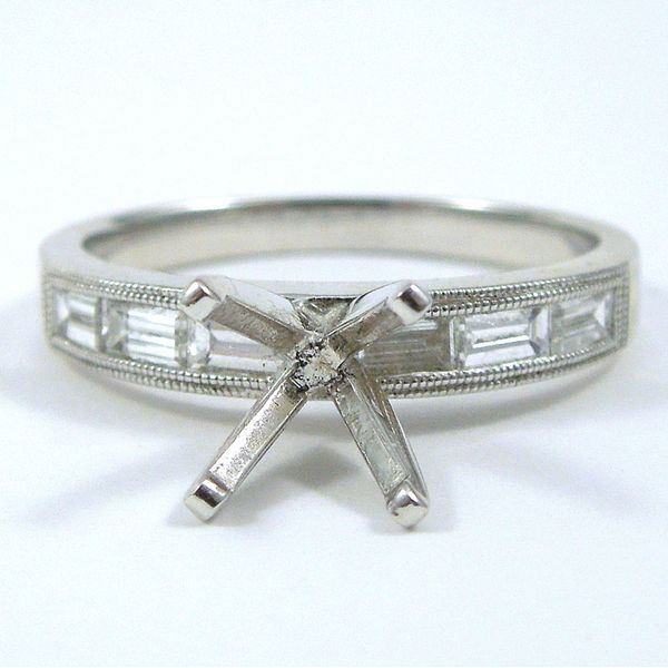 Baguette Accented Semi-Mount Ring Joint Venture Jewelry Cary, NC