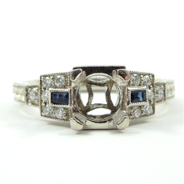Art Deco Inspired Semi-Mount with Sapphire Accents Joint Venture Jewelry Cary, NC