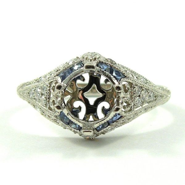 Vintage Inspired Sapphire Semi-Mount Engagement Ring Joint Venture Jewelry Cary, NC