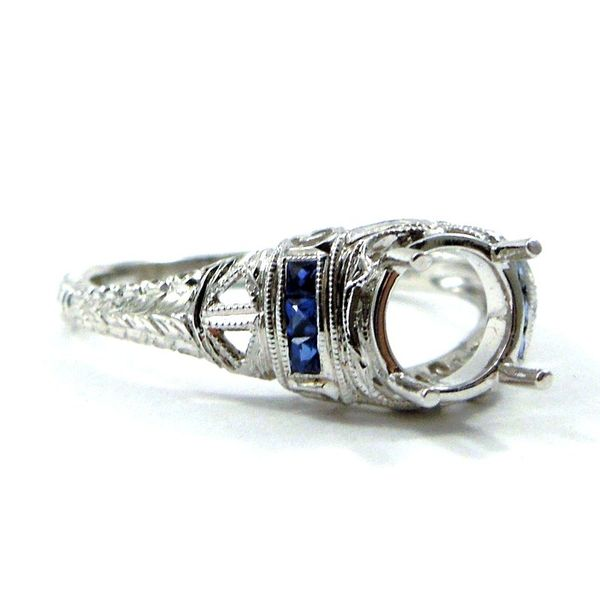 Vintage Inspired Sapphire Semi-Mount Ring Image 2 Joint Venture Jewelry Cary, NC