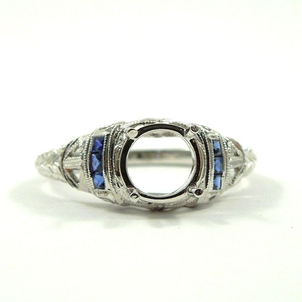 Vintage Inspired Sapphire Semi-Mount Ring Joint Venture Jewelry Cary, NC