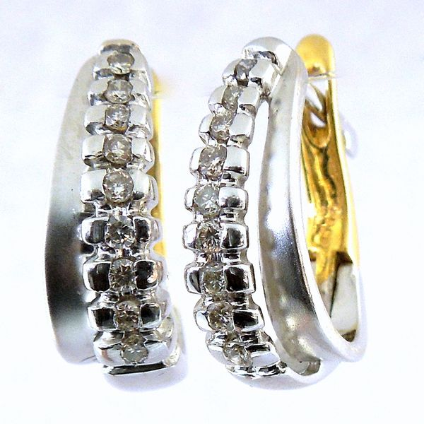 Two Tone Diamond Earrings Joint Venture Jewelry Cary, NC