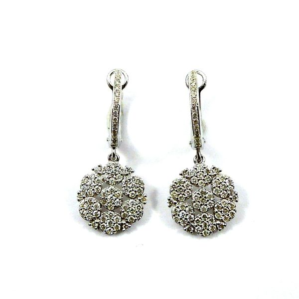 Diamond Floral Cluster Drop Earrings Joint Venture Jewelry Cary, NC