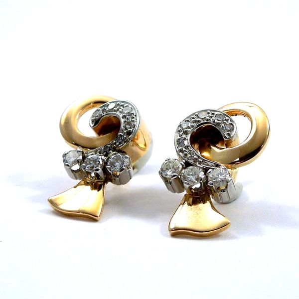 Retro Diamond Earrings Image 2 Joint Venture Jewelry Cary, NC