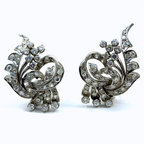 Platinum Diamond Fan Earrings Joint Venture Jewelry Cary, NC