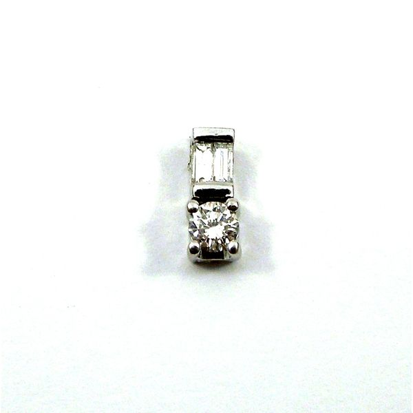 Baguette and Round Cut Diamond Pendant Image 2 Joint Venture Jewelry Cary, NC