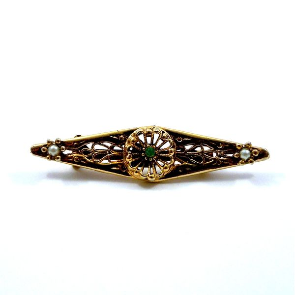Vintage Emerald and Seed Pearl Pin Joint Venture Jewelry Cary, NC