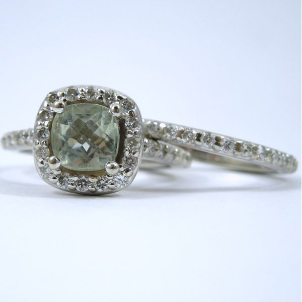 Green Amethyst Halo Engagement Set Joint Venture Jewelry Cary, NC