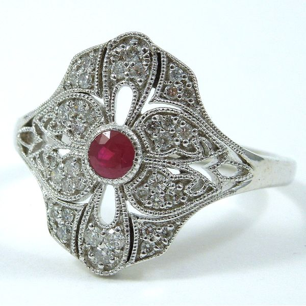 Vintage Inspired Ruby & Diamond Ring Joint Venture Jewelry Cary, NC
