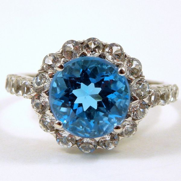 Blue Topaz & White Sapphire Ring Joint Venture Jewelry Cary, NC