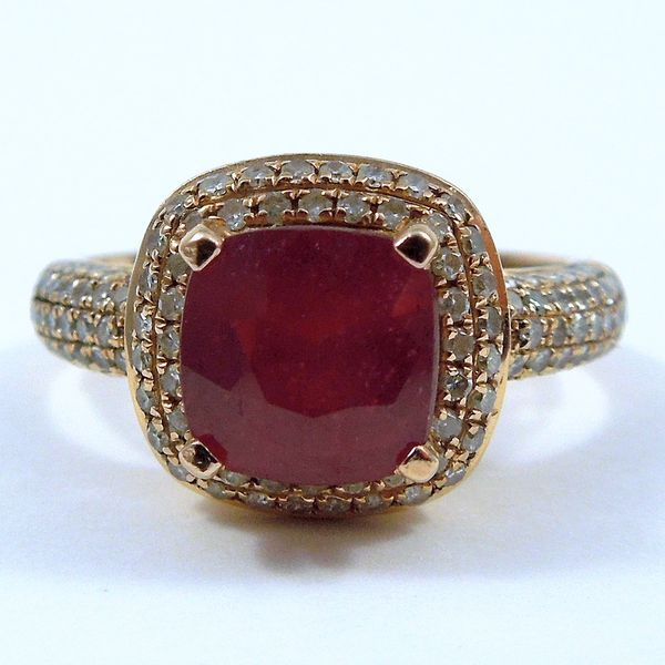Rose Gold Ruby & Diamond Ring Joint Venture Jewelry Cary, NC