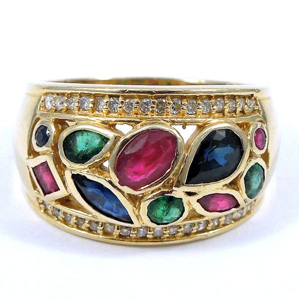 Precious Colored Stone Wide Band Joint Venture Jewelry Cary, NC