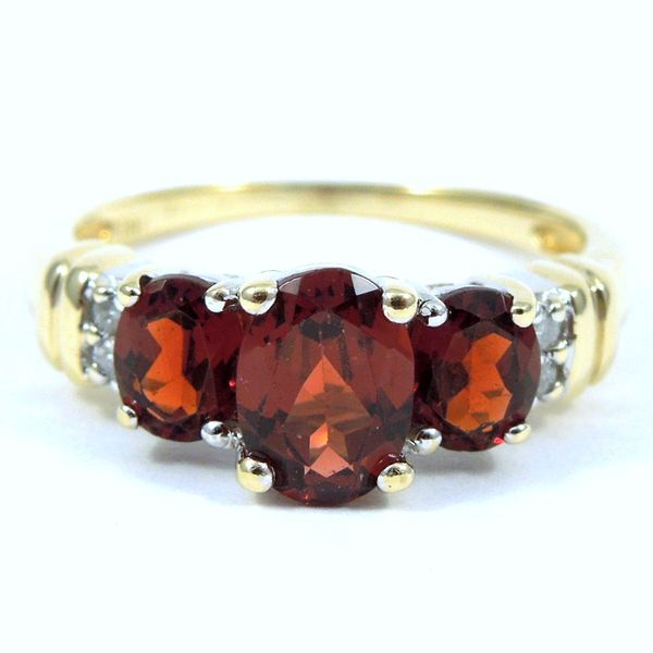 Three Stone Garnet Ring Joint Venture Jewelry Cary, NC