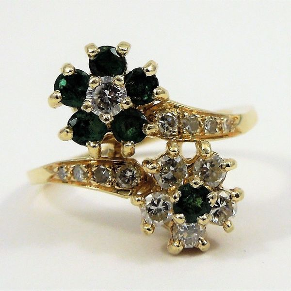 Diamond and Emerald Bypass Ring Joint Venture Jewelry Cary, NC