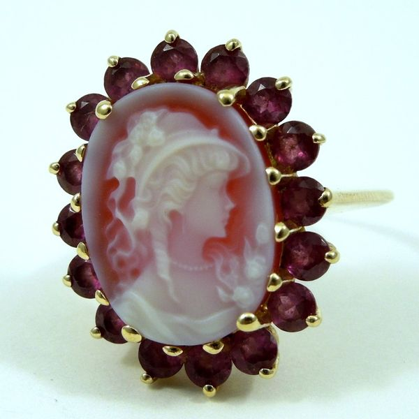 Pink Tourmaline and Cameo Ring Joint Venture Jewelry Cary, NC