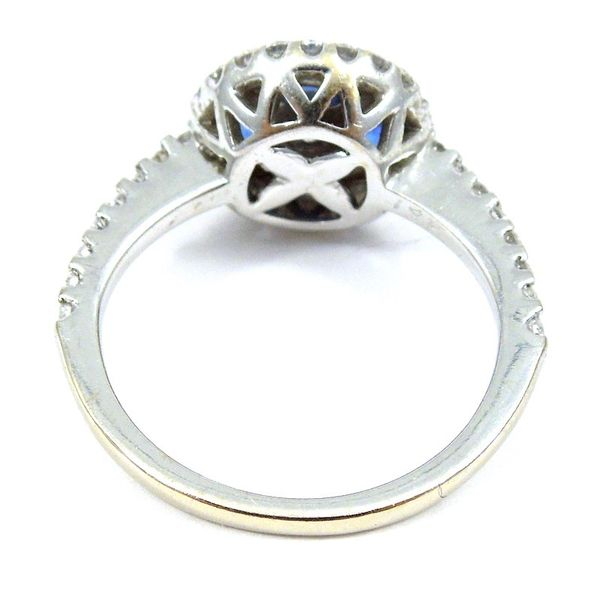 Sapphire and Diamond Halo Ring Image 2 Joint Venture Jewelry Cary, NC