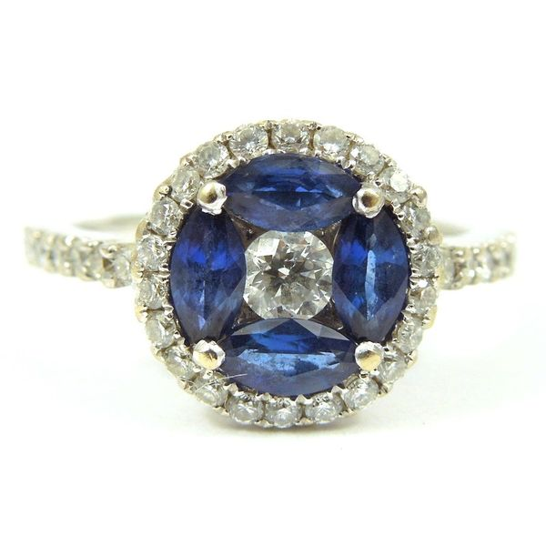 Sapphire and Diamond Halo Ring Joint Venture Jewelry Cary, NC