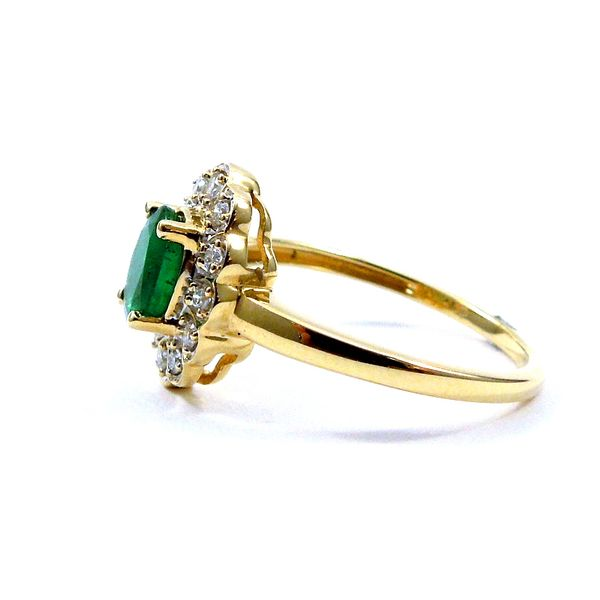 Oval Emerald and Halo Diamond Ring Image 2 Joint Venture Jewelry Cary, NC