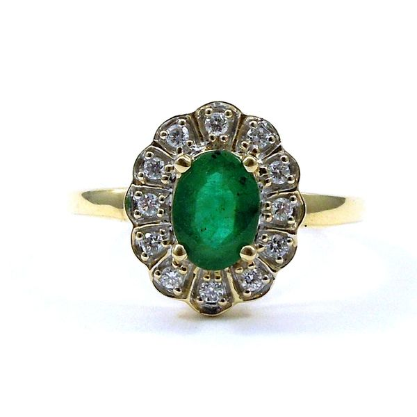 Oval Emerald and Halo Diamond Ring Joint Venture Jewelry Cary, NC