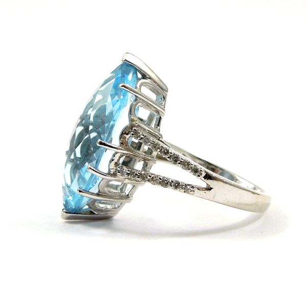 Marquise Cut Blue Topaz and Diamond Ring Image 2 Joint Venture Jewelry Cary, NC