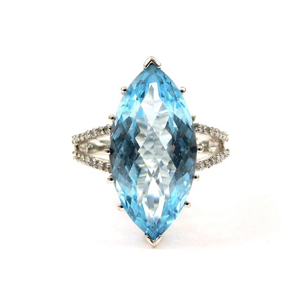 Marquise Cut Blue Topaz and Diamond Ring Joint Venture Jewelry Cary, NC