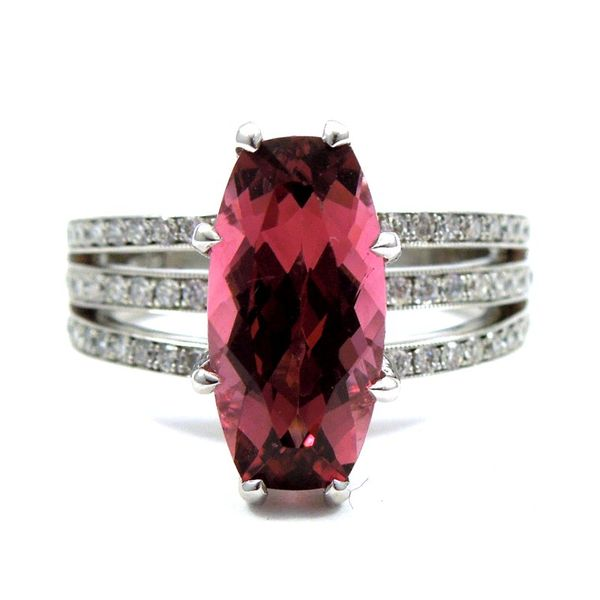 Cushion Cut Rubelite and Diamond Ring Joint Venture Jewelry Cary, NC