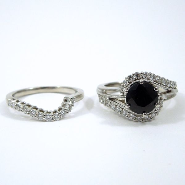 Dark Blue Sapphire Engagement Ring with Wedding Band Image 4 Joint Venture Jewelry Cary, NC