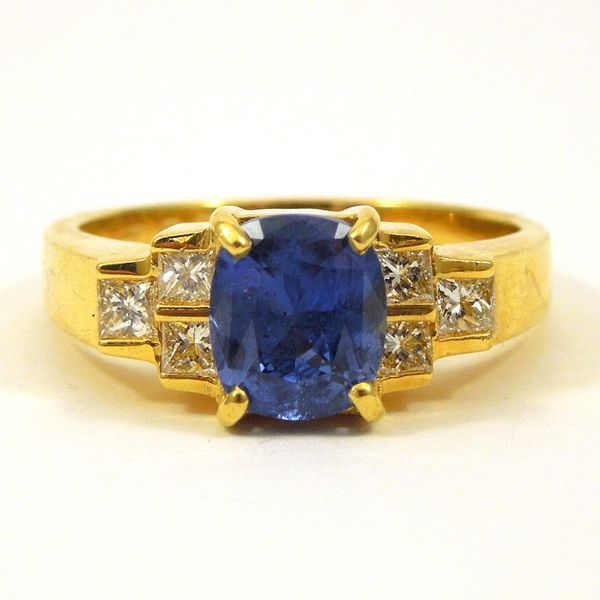 Oval Cushion Cut Sapphire Ring with Diamonds Joint Venture Jewelry Cary, NC