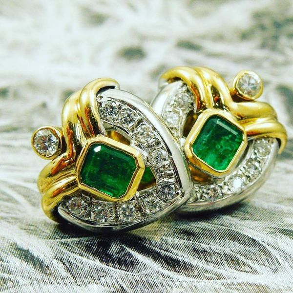 Heart Shaped Emerald & Diamond Earrings Joint Venture Jewelry Cary, NC
