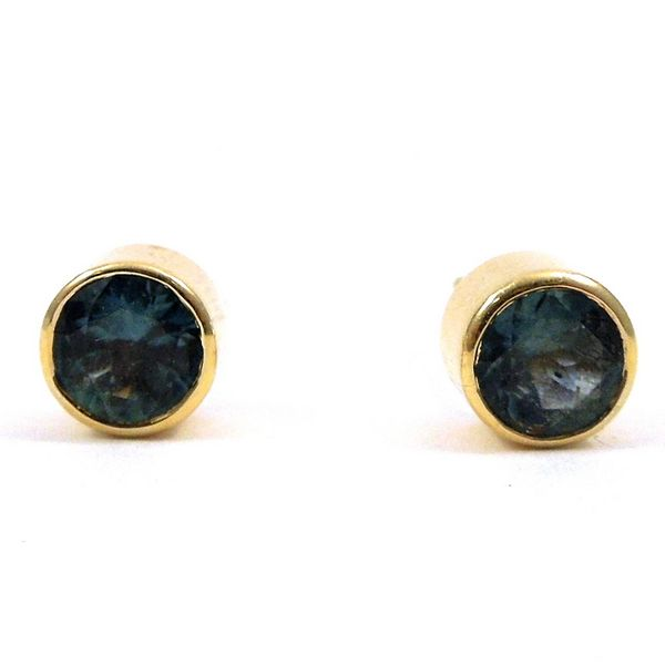 Bezel Set Blue Topaz Studs Joint Venture Jewelry Cary, NC