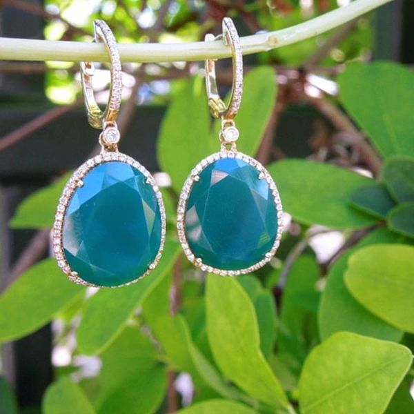 Faceted Green Agate & Diamond Drop Earrings Image 2 Joint Venture Jewelry Cary, NC