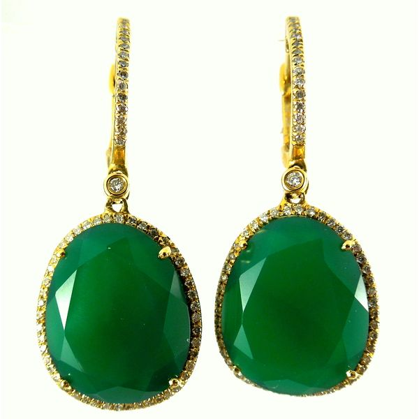 Faceted Green Agate & Diamond Drop Earrings Joint Venture Jewelry Cary, NC