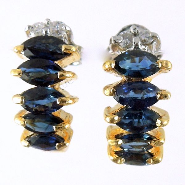 Sapphire Half Huggie Earrrings Joint Venture Jewelry Cary, NC