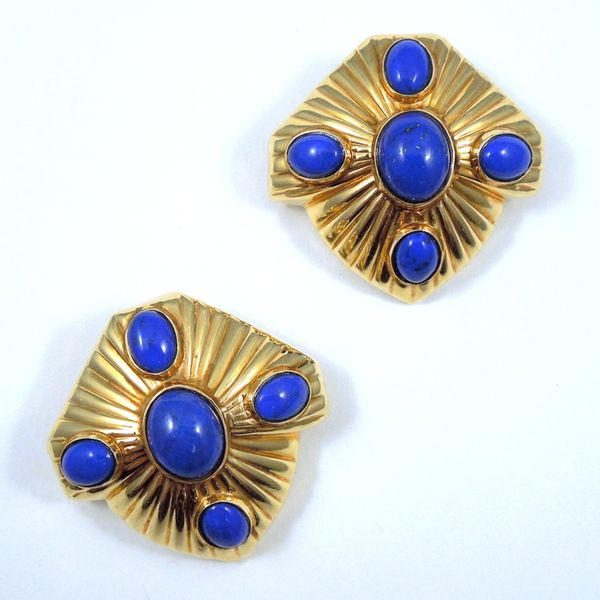 Gold Lapis Earrings Joint Venture Jewelry Cary, NC