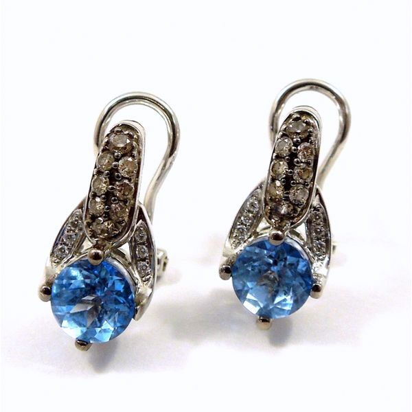LeVian Blue Topaz and Diamond Earrings Joint Venture Jewelry Cary, NC