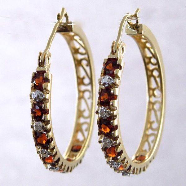 Garnet and Diamond Hoops Joint Venture Jewelry Cary, NC