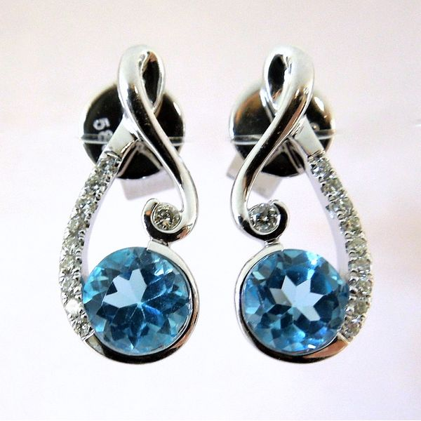 Blue Topaz and Diamond Earrings Joint Venture Jewelry Cary, NC