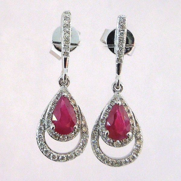 Ruby and Diamond Drop Earrings Joint Venture Jewelry Cary, NC