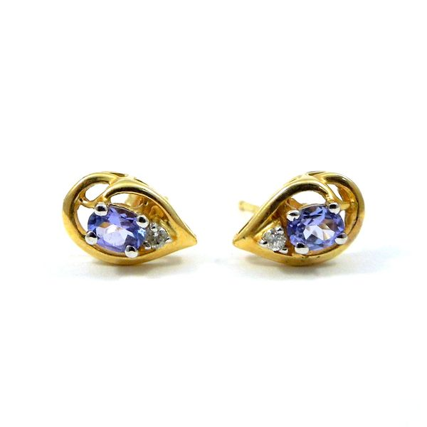 Tanzanite & Diamond Earrings Image 2 Joint Venture Jewelry Cary, NC