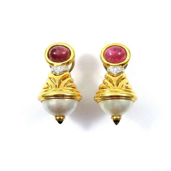 Cabochon Ruby, Pearl, Peridot and Diamond Earrings Joint Venture Jewelry Cary, NC